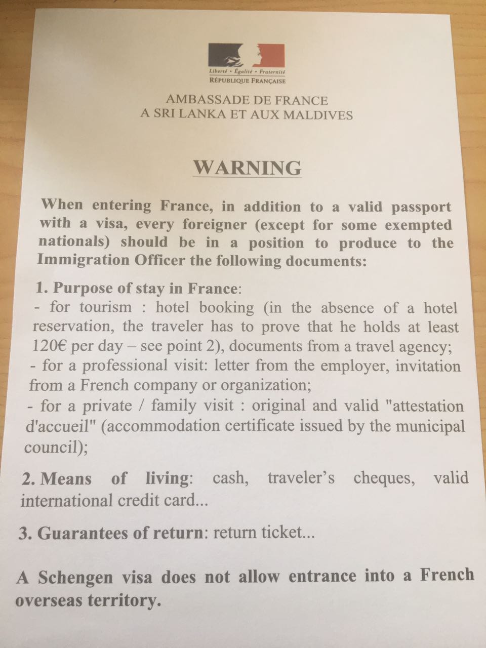 Additional Requirements At French Borders